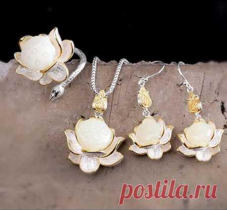 White Hetian Jade Lotus Necklace-925 Silver Inlay   Etsy