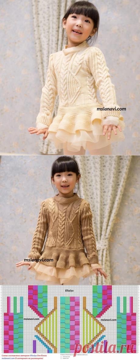 Детское вязаное платье спицами | Вяжем с Лана Ви
