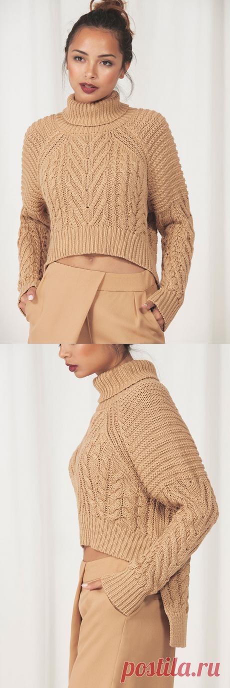 Песочный пуловер с косами. Идея для вязания