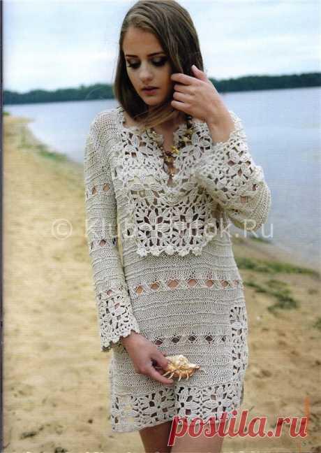 Льняное платье из мотивов | Вязание для женщин | Вязание спицами и крючком. Схемы вязания.
