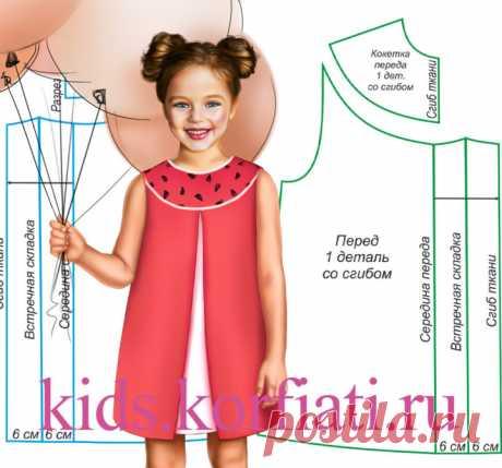 Платье с кокеткой для девочки от Анастасии Корфиати