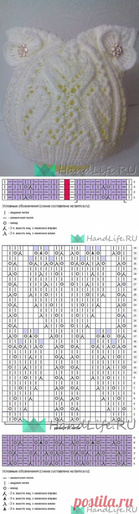 Шапочка с ушками для девочки / Вязание