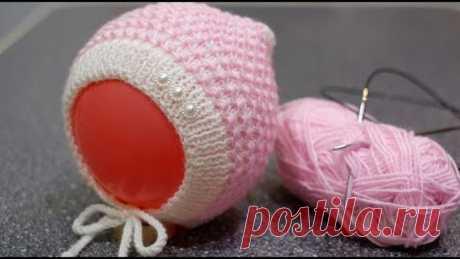 Чепчик для новорожденного «Жемчужинка». Подробный МК.