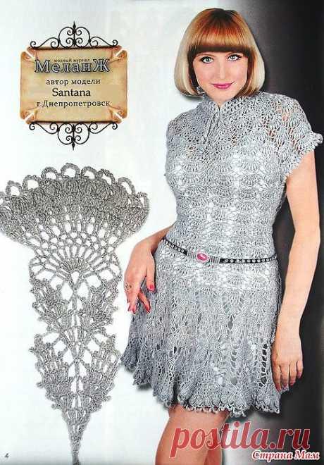 Платье-туника крючком. Авторская модель со схемами.