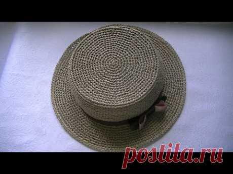 Вяжем летнюю шляпку пряжи с рафии .