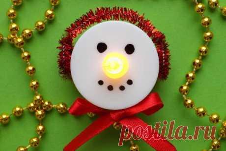 Делаем ёлочную игрушку «Снеговик-светильник» | CityWomanCafe.com
