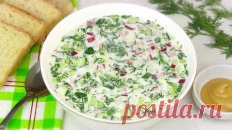 Okroshka on kefir and mineral water with mustard - the recipe with a photo