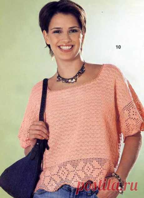 Персиковый пуловер   Вязание и рукоделие