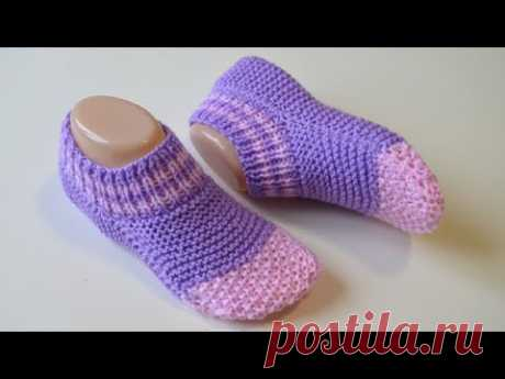 Короткие носки на двух спицах / одним полотном / без шва на подошве