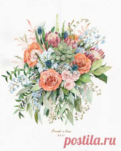 ORIGINAL Custom Wedding Bouquet Painting in Watercolor Bridal   Etsy
