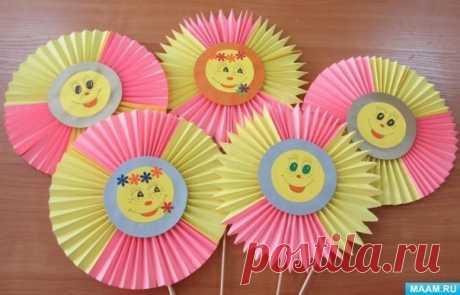 Солнышко из бумаги, сложенной гармошкой — Поделки с детьми