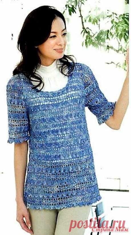 Ажурный пуловер. Крючок. https://maravilhasdaedu.blogspot.com/