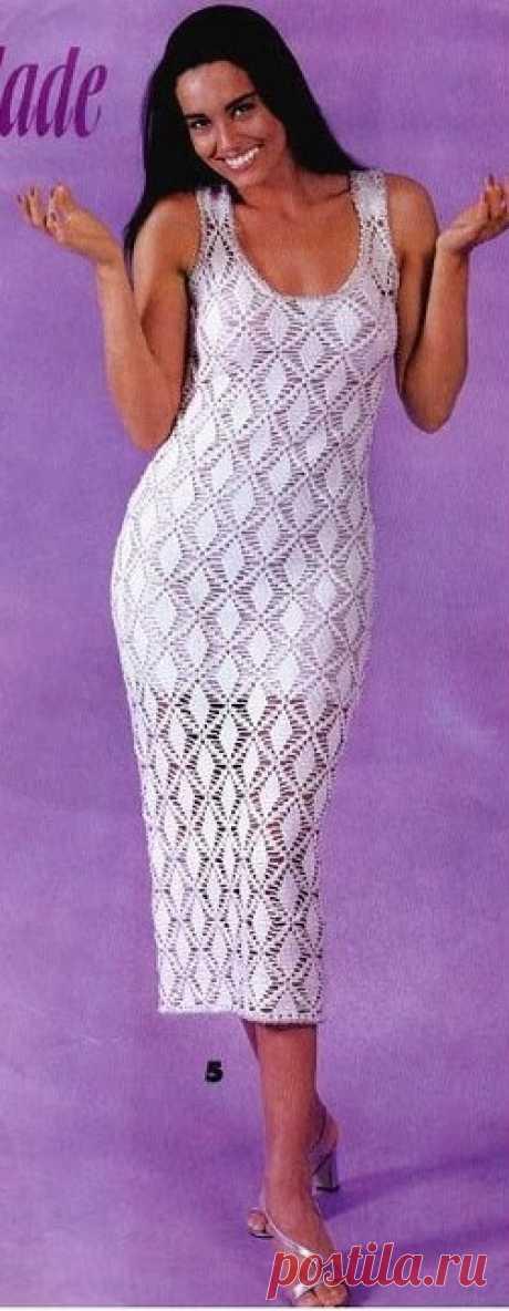 Длинное платье крючком ажурными ромбами. Белое платье крючком схема |