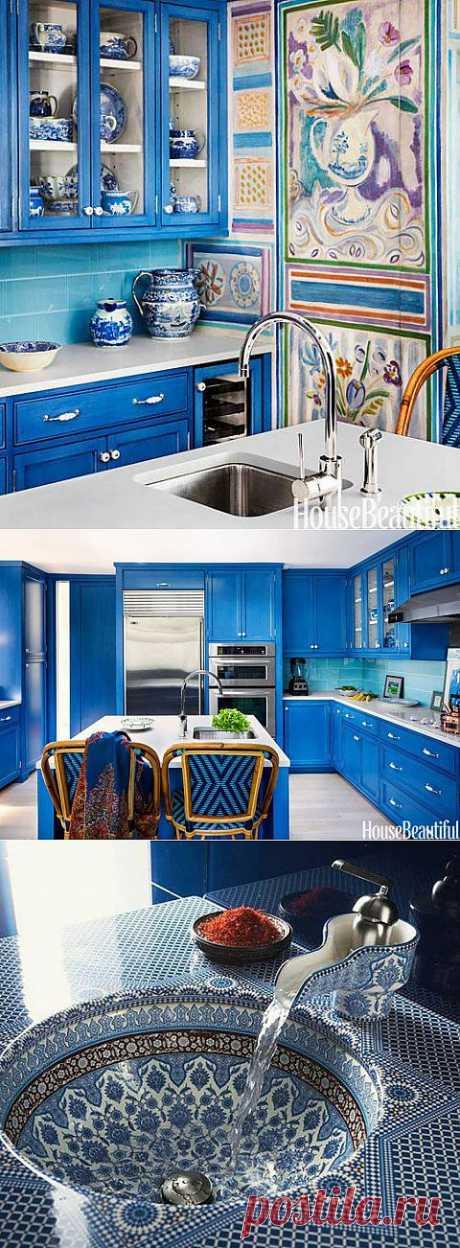 Ярко-синяя кухня – нестандартное решение! | Наш уютный дом