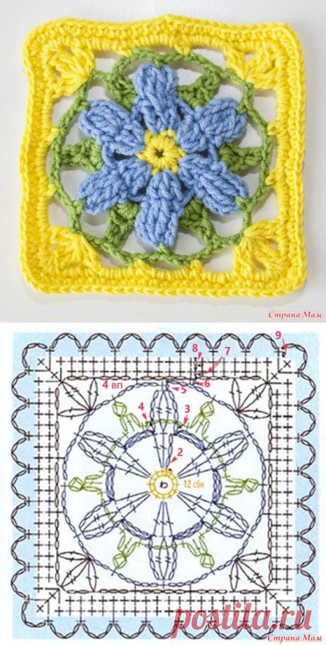 Красивый квадратный мотив крючком с цветком - Вязание - Страна Мам