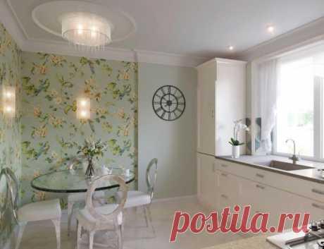 Дизайн кухни с зелеными обоями: 55 современных фото в интерьере Использование зеленых обоев на кухне – это универсальное решение как для больших, так и для маленьких помещений, подходящее практически к любому стилю.