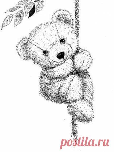 Уроки рисования для детей - плюшевый медведь