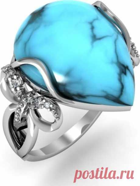 Кольцо с фианитами и бирюзой из серебра(1+4+8 камней, серебро 925 пробы)- купить в Москве за 1 500 рублей в интернет-магазине Nebo.ru, арт. 2120418
