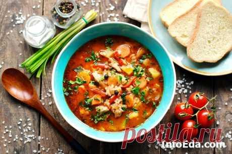 Суп-харчо с курицей и рисом: рецепт с фото   InfoEda.com Пошаговый рецепт с фото, как приготовить суп-харчо с курицей и рисом в домашних условиях. Готовим вкусным и наваристый суп-харчо из курицы, риса и картошки.