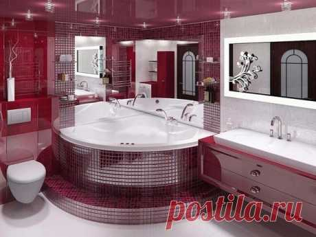 Страстная по цвету ванная комната