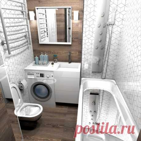 Дизайн-проект ванной комнаты 4 кв.м