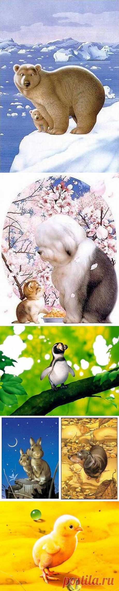 Милые зверушки японского художника Makoto Muramatsu. Макото Мураматсу еще с детства увлекался  рисованием, рисуя все, что попадалось ему под руку, в основном это были животные, которые гуляли возле его дома. Окончив школу, он поступил в  Японский Университет Искусств. По словам Мураматсу, он очень любит  животных, он любит их всех; ведь тогда бы в его архиве не было бы  картин с сусликами, птичками, лягушками, хрюшками и прочей живностью.