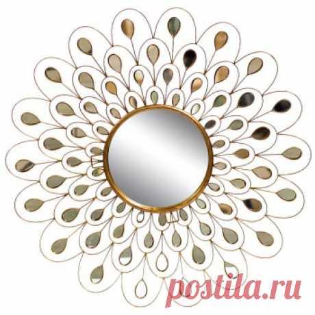 Зеркало в форме солнца золотистого цвета. Дизайнерские зеркала купить в Москве - необычные зеркала, цена в каталоге интернет-магазина ForestGum