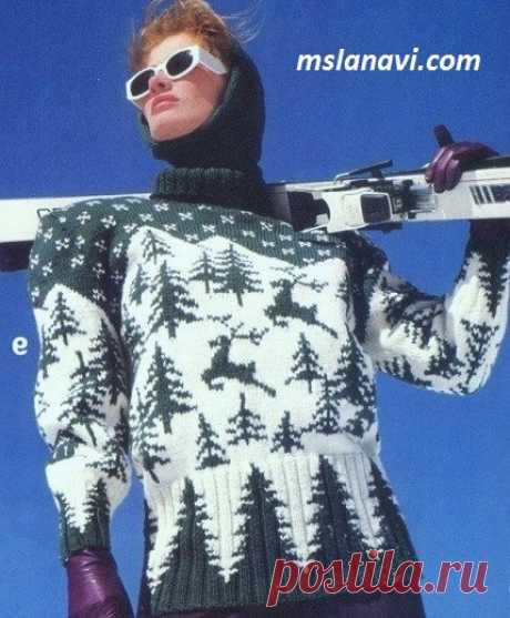 Вязаный свитер с оленями | Вяжем с Лана Ви