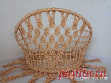 Садовые подвесные круглые качели из двух колец макраме (кресло, гамак) плетеные
