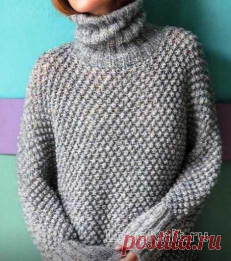 Удлиненный пуловер-туника со звездами схема спицами » Люблю Вязать