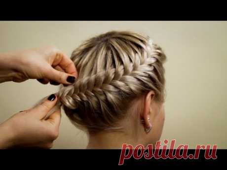 """Hairdress from braids \""""Basket\"""". Hairstyle of braids"""