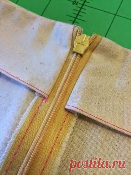 Обработка пояса юбки с потайной молнией