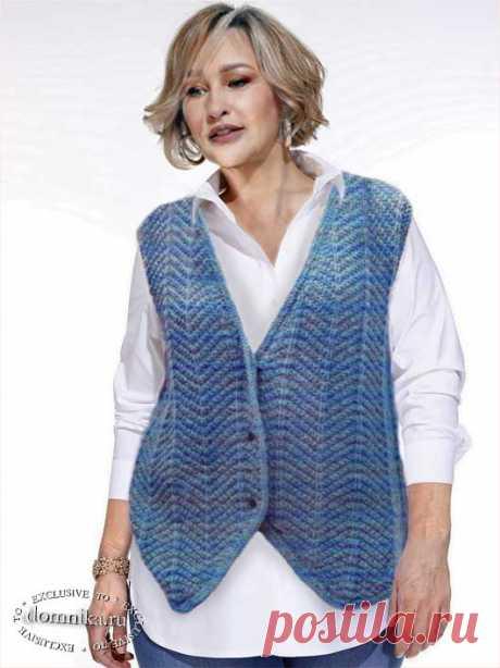 Жилеты спицами для полных женщин старше 60 лет - описание вязания жилета