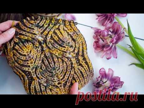 Видео-МК + схема вязания красивого узора в технике Бриошь. | Вязание спицами для начинающих