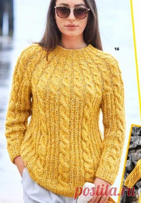 Пуловер с круглой кокеткой с узором кос