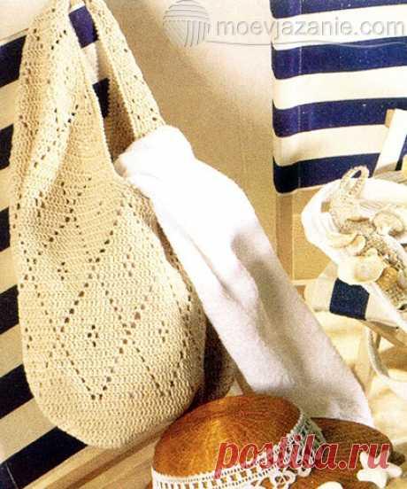 Вязаная сумка-мешок с ажурными ромбами   MoeVjazanie Эта вязаная сумка-мешок идеально подойдет для похода за покупками, ведь вместимость у нее просто огромная...
