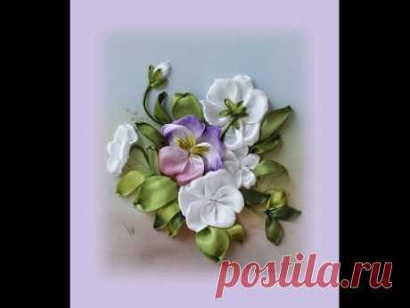 Вышиваем миниатюру с анютиными глазками Часть 4 How to embroider  ribbon pansies Part 4 如何绣带紫罗兰
