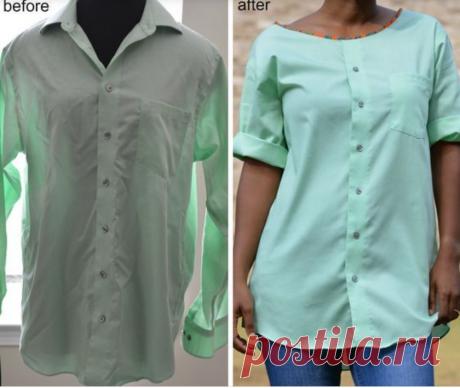 10 интересных идей переделки мужской рубашки в женскую блузку.   Провинциалка в теме   Яндекс Дзен