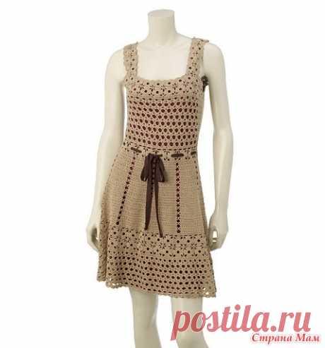 . Красивое бежевое платье - Все в ажуре... (вязание крючком) - Страна Мам