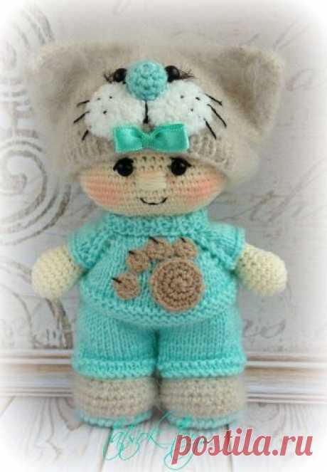 Пупс в костюме котика крючком | Схемы игрушек амигуруми