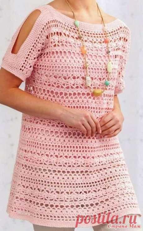 Нежно-розовая туника с разрезами на рукавах - Все в ажуре... (вязание крючком) - Страна Мам
