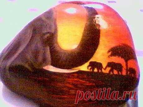 rockpaintingii: View Photo:sunset elephant