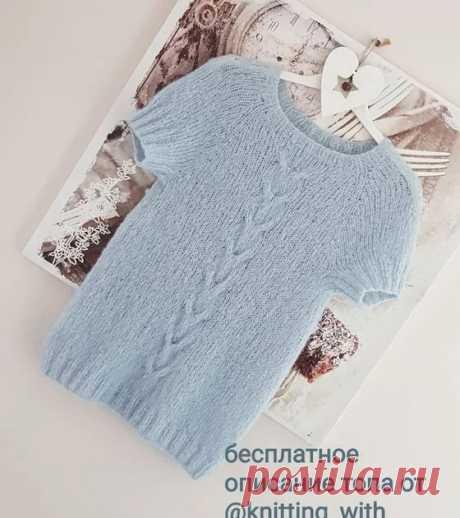 Пуловер-реглан с коротким рукавом. Краткое описание от @knitting_with_love_sv. пуловер,топ,бесплатное описание,вязание,спицы,реглан,вяжем стильный топ реглан