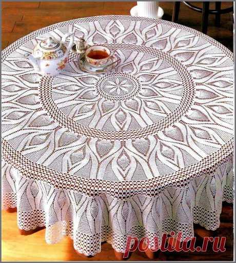 Красивая кружевная скатерть - Эфария Нежная,изысканная кружевная скатерть связанная крючком. Схема вязания источник
