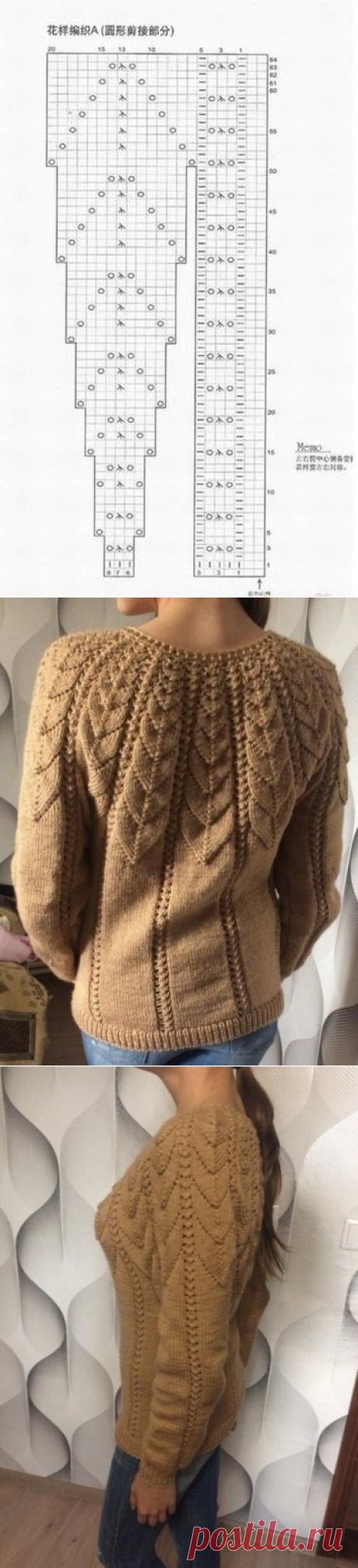 Красивый свитер для любителей вязать спицами