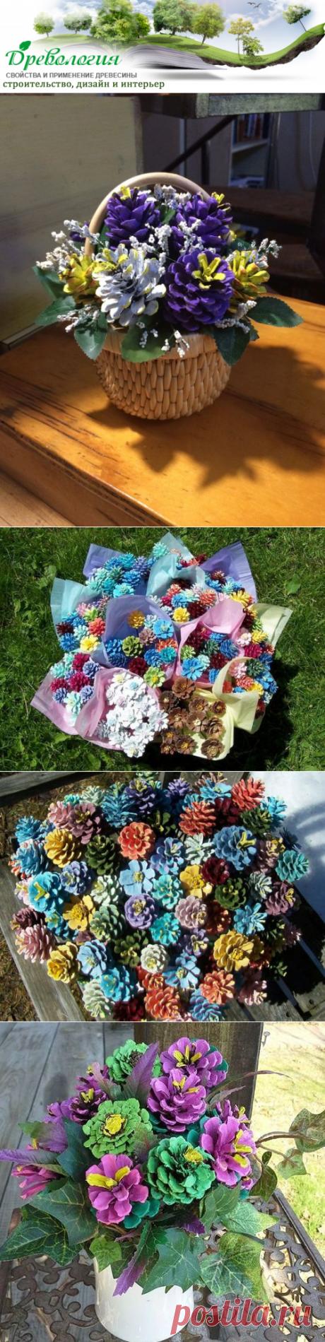 Идеи ярких букетов из шишек