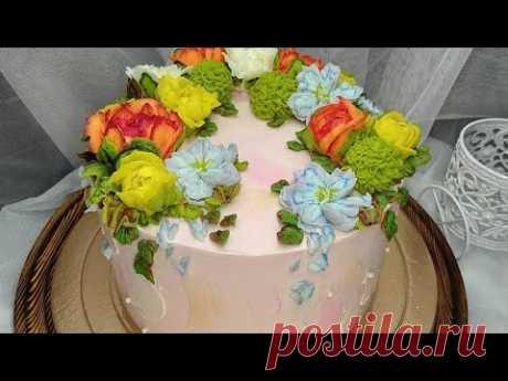 Кремовые цветы. Торт для девушки. Пионы из крема.Cream flowers. Peonies from cream. Cake for a girl.