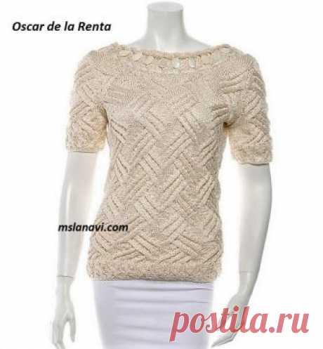 Летний пуловер спицами от Oscar de la Renta   Вяжем с Лана Ви