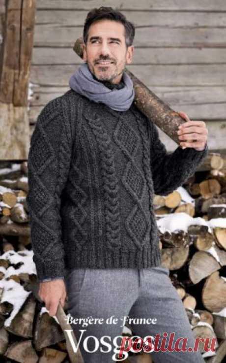 Вязаный спицами мужской свитер Vosges от Bergère de France | Мамины-ручки.рф