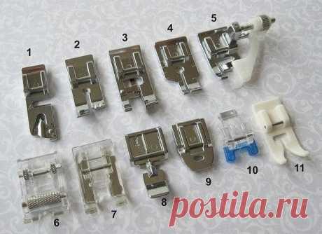 Описание прижимных лапок для швейных машин